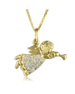 Золотой ангел с фианитами купить