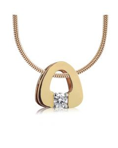 Золотий кулон з діамантом 0.1 Ct «Eurostyle»