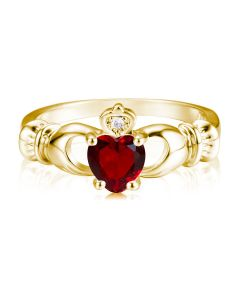 Кладдахское кольцо с гранатовым сердцем «Gold Claddagh»