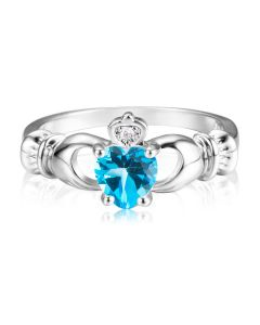 Кладдахське кольцо з топазовим серцем «Gold Claddagh»
