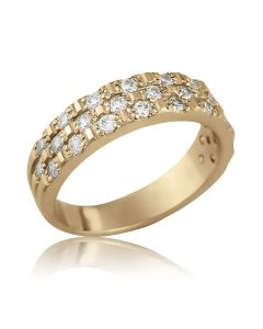 Золота каблучка з розсипом діамантів «Shine»