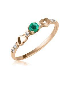 Каблучка з золотим серцем і яскравим смарагдом «Вірність»