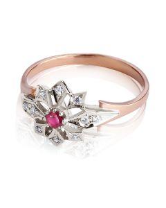 Золотое кольцо с рубином «Сияние звезд»