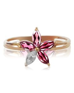 Кольцо с гранатами и бриллиантом «Цветок любви»