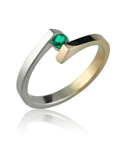 Золотое кольцо для помолвки с изумрудом 3 мм «Аннет»