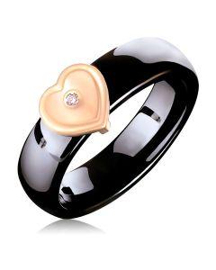 Каблучка з кераміки із золотою накладкою і діамантом «Таємниця мого серця»