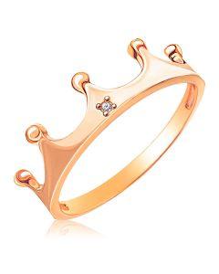 Золоте кільце корона з діамантом 0,01Ct «Моя королева»