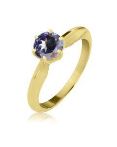 Кольцо золотое с крупным александритом «Элегия»