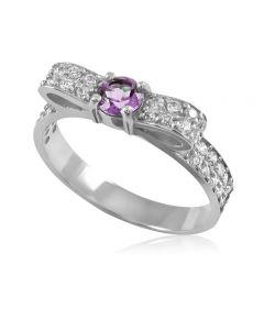 Золоте кольцо с аметистом «Бантик»