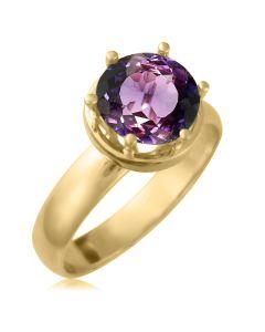 Золотое кольцо на помолвку с аметистом 2 Ct «Дамиано»