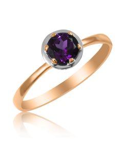 Золоте кільце з аметистом «Gold Brand»