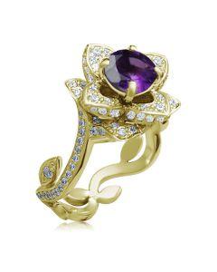 Золотое кольцо «Lotus» с аметистом