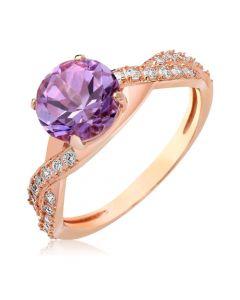 Золотой перстень с крупным аметистом «Прима»