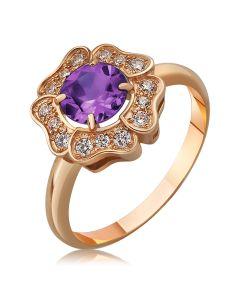 Золоте кільце квіточка з аметистом «Flower»