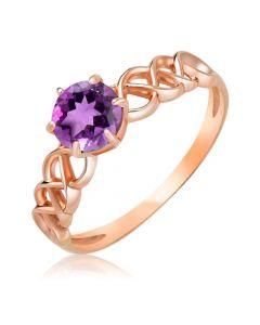 Золотое ажурное кольцо с аметистом «Есения»