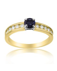 Золота каблучка з діамантами і сапфіром 0.5 Ct«Флора»