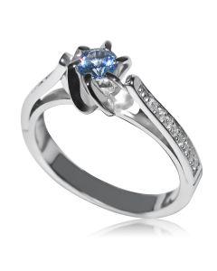 Кольцо с аквамарином и бриллиантами на помолвку «Mare»