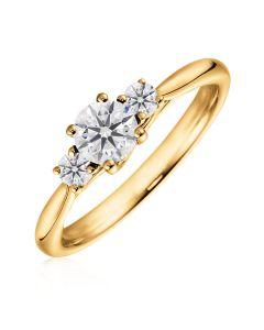 Золотое кольцо с тремя бриллиантами «Magic tenderness»