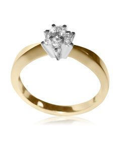 Золотое кольцо на помолвку с 7 бриллиантами «Luisa»