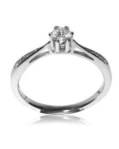 Золотое кольцо на помолвку с бриллиантом 0,11 карат «Этюд»