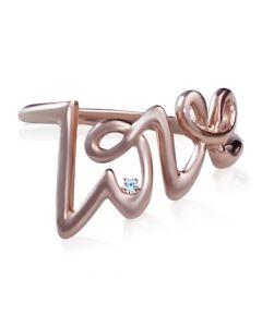 Золотое кольцо «Love» с бриллиантом 0,01 Ct