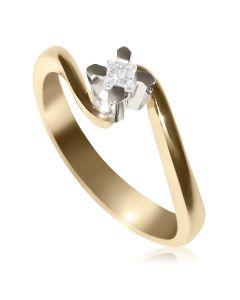 Каблучка на заручини з квадратним діамантом 0,15 Ct «Vittoria»