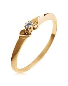 Золотое женское кольцо с бриллиантом 0,03 Ct «Элегантный шик»