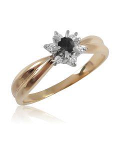 Золотое кольцо с черным бриллиантом 0.12 ct «Франсуаза»