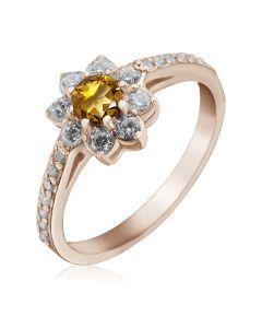 Золотое кольцо цветок с цитрином «Bloom»