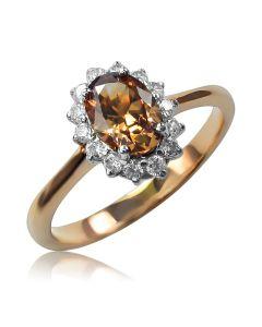 Золотое кольцо с цветными фианитами «Ноктюрн»