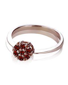 Золотое кольцо с гранатом «Mystic Flower»