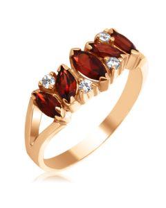 Золотое кольцо с гранатами и камнями Сваровски «Кимберли»