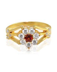 Кольцо цветок с гранатом и Сваровски в золоте «Belle fleur»
