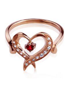 Золота каблучка з гранатом «Мелодія серця»