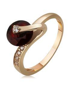 Оригинальное золотое кольцо с гранатом «Enigma»