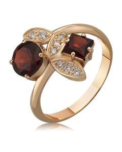 Кольцо с круглым и квадратным гранатом «Тайна красавицы»