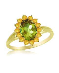 Кольцо з хризолітом і цитринами «Сонце»