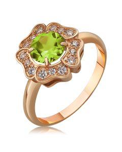 Золоте кільце квітка з хризолітом «Flower»