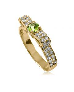 Золоте кольцо з хризолітом «Бантик»