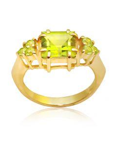 """Золотое кольцо с хризолитом """"Дороги любви-хризолит"""""""