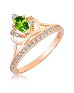 Золота каблучка корона з хризолітом «Королівська»