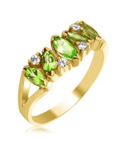Золоте кільце з хризолітами і кристалами Сваровски «Кімберлі»