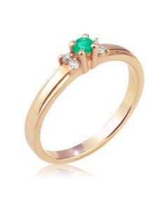 Женское золотое кольцо с изумрудом и бриллиантами «La Tendresse»