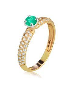 Кольцо золотое для помолвки с изумрудом «Raffaella»