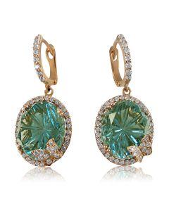 Золотые серьги с зеленым кварцем «Летняя ночь»