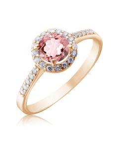 Золота каблучка з рожевим морганітом  «Алеся»