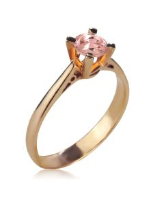 Золота каблучка для заручин з великим морганітом «Еліс»
