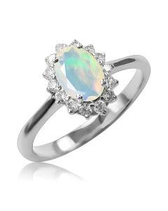 Золотое кольцо с опалом и цирконием «Ноктюрн»
