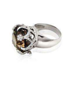 Золотое кольцо с раухтопазом «Императорская корона»