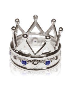 """Золотое кольцо с сапфиром """" Корона с сапфирами"""""""